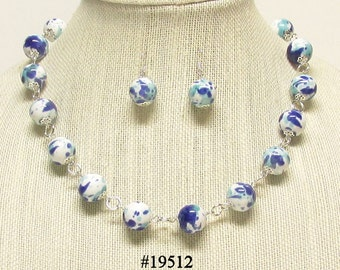 "21"" Blue and White Porcelain Beaded Necklace Set #19512"