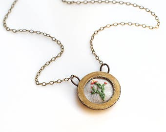 Prickly Pear Cactus- hand embroidered necklace, desert, succulent, cacti