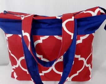 Extra Large Tote, Beach BAG, Zippered Knitting BAG, Diaper BAG, Red, White, Blue, Weekend Bag