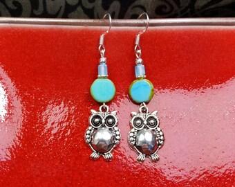 Blue Owl Earrings, Blue Owl Sterling Silver Dangle Earrings, Smart Blue Owl Sterling Silver Dangle Earrings, Owl Earrings