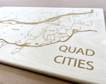 Quad Cities Map - Davenport Bettendorf Moline Rock Island Custom Map Art, Christmas Gift Mother-In-Law, Graduation Gift, Framed Map