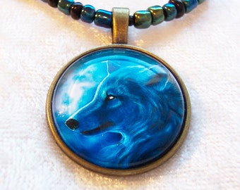Wolf Necklace, Blue Wolf Bronze Necklace, Midnight Wolf Necklace, Moonlit Night, Photo Glass Domed Cabochon, Peacock Seed Beeds, Bronze Cab