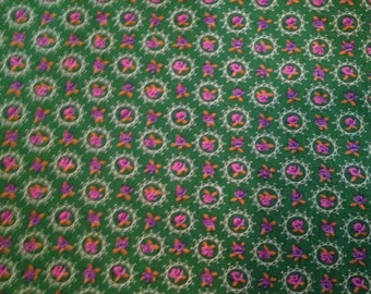 Vintage Pink and Green Floral Fabric  Calico Cotton