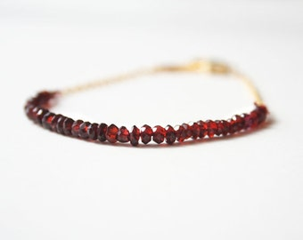 Red Garnet Bracelet, January Birthstone, Red Bracelet