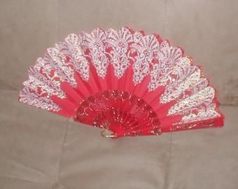 Vintage Red & Gold Folding Fan