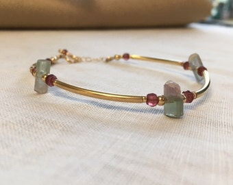Tourmaline and Gold filled Adjustable Bracelet