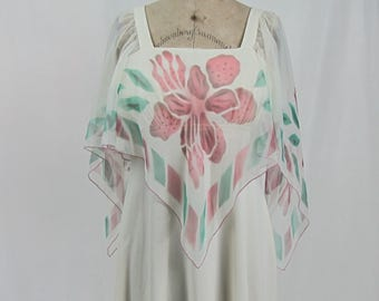 Vintage 1970s Maxi Angel Wing Boho Dress