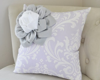 Purple & Gray and White Two Toned Corner Flower Pillow, Purple Damask Pillow Case, Flower Bedding, Purple Pillow Case, Purple Nursery Pillow