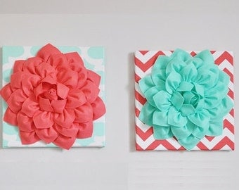 Wall ART Light Coral Dahlia and Mint Green Dahlia Flowers on opposite Mint and Coral Chevron Canvases size 12x12