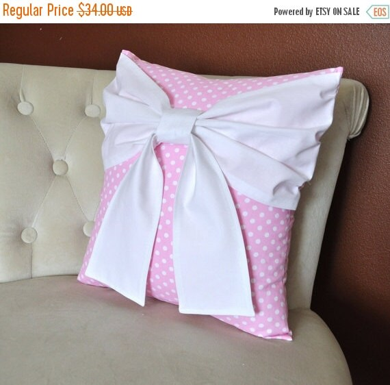 SALE Nursery Decor - Pink Polka Dot Pillow with  Big White Bow Throw Pillow Nursery pillow