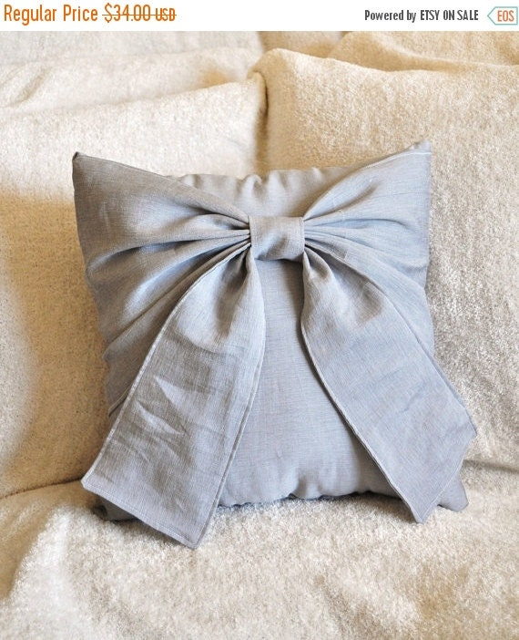 SALE Gray Bow Pillow Decorative Throw Bow 14 x 14 Pillow