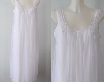 Vintage White Chiffon Nightgown, French Maid, 1960s Chiffon Nightgown, Chiffon Nightgown, White Chiffon Nightgown, Romantic, Wedding, Bridal