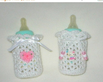 40% OFF RETIRING SALE Crochet Baby 0-3 Mts 4 Oz.Two Bottle Covers Hello Kitty By Hello Kitty And  Pink Gingham Heart Rose Gift Set