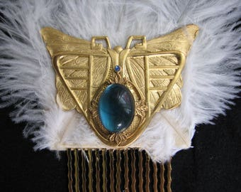 Butterfly hairpiece |  Egyptian headpiece | statement |  gold hair comb | something blue | nature inspired | art nouveau  | ostrich feather