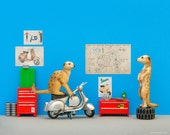 Mod meerkat mechanics vespa art print: Toodle Pip