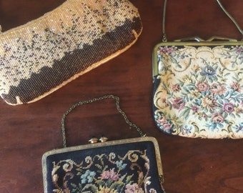 3 Vintage Evening Bags Tapestry Beaded