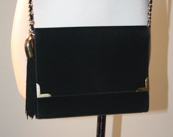 Vintage Black Velvet Ladylike Chain Strap Handbag with Fringe Tassle