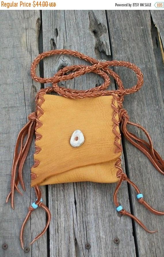 ON SALE Bohemian leather bag   Cell phone bag   Crossbody handbag  Buckskin leather purse Handmade bag