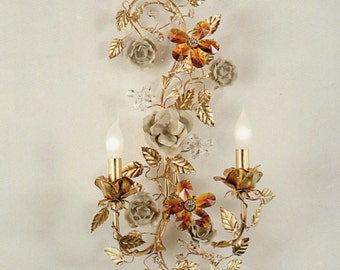 "16.92"" X 27.55"" Roses sconce wrought iron with crystals 100% MADE IN ITALY"