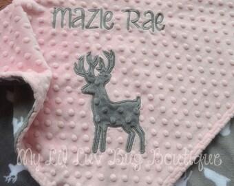 Baby blankets personalized - Deer baby blanket -  Baby deer blanket with name - buck baby blanket - hunting baby blanket - fawn baby blanket