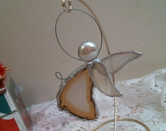 Agate slice ANGEL with stained glass wings suncatcher or ornament