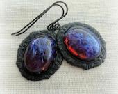 Fire Opal Earrings - Cameo Jewelry - Dragons Breath Opal - Cameo Earrings - Victorian Jewelry - Victorian Earrings - Fire Opal Jewelry