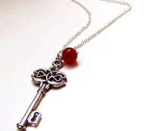 SALE Vintage Key Ruby Gem Silver Necklace. Free upgrade. July Birthday. Birthstone Jewelry.