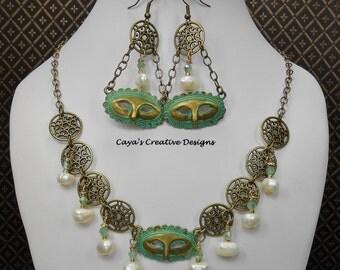 Mardi Gras Statement Necklace Set / Verdigris Bronze/Antique Brass Jewelry / Novelty Jewelry / Mardi Gras Mask Jewelry - MARDI GRAS