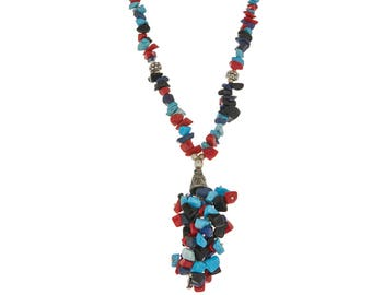 Nepal necklace,Tassel coral Red blue Turquoise Necklace,Gift for Her,Island jewelry,Bohemian necklace,Stone chip necklace by Tanessi