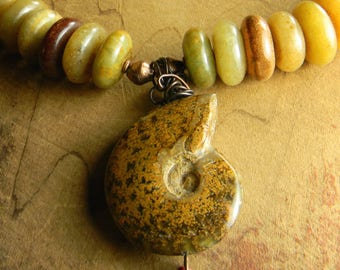 Tribal Jewelry Ammonite Pendant Necklace Soo Chow Jade Choker Green Orange Ancient