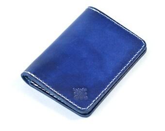 Handmade & Hand Dyed Vegetable Tanned Leather Bi Fold Card Wallet Handmade