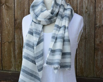 Linen scarf, striped scarf, men scarf,  women scarf, gray white scarf