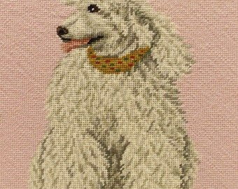 Vintage Framed Poodle Portrait--- Poodle Lovers/Poodle Collector --- Needlepoint Dog Portrait
