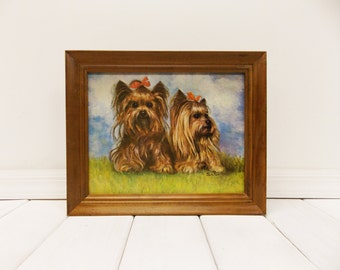 "Vintage Framed Dog Print--- Yorkshire Terriers--- 1960's by ""Silton"""