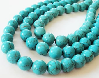 "Turquoise Round Beads - Turquoise Howlite Gemstone - Smooth Round Ball Beads - 16"" Strand - 12mm - Dark Vein Beads -DIY  Bulk Jewelry Making"
