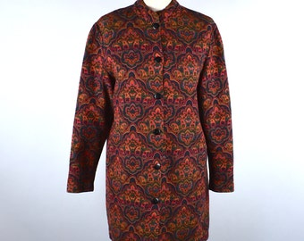 Mid Length Button Up Tapestry Tunic, Mod Tunic, Art Nouveau Tunic