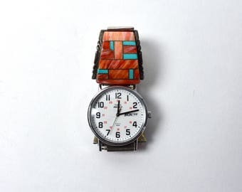 Sterling Silver, Turquoise and Shell Watchband - with Free Watch!