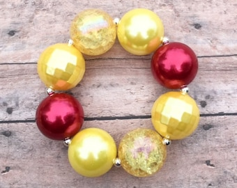 Yellow and Red Chunky Bracelet, Belle Bracelet, Chunky Bracelets, Beauty and the Beast Inspired, Belle Jewelry, Bubblegum Jewelry