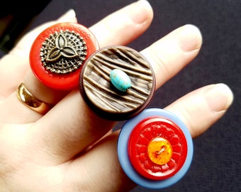 ADJUSTABLE Red Button Ring, Steampunk Ring,  Statement Ring, Adjustable Ring, Upcycled Jewelry