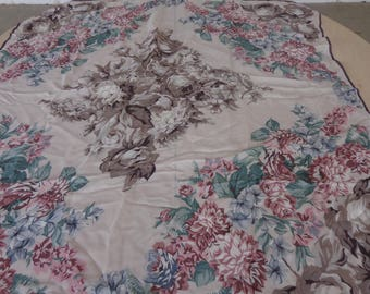 Vintage Roses Silk Scarf  34 x 35 inches  very nice!!