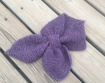 Ascot scarf hand knitted keyhole scarf pink