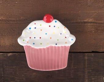 Bright Cupcake Ceramic Dessert Plate or Trinket Dish - Polka Dot Sprinkles - Pink
