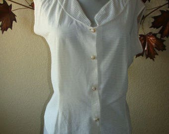 Vintage Sheer Blouse Short Sleeve Top Cream Rhinestone Plastic Button Ribbed Material Stripe S Mid Century 40's