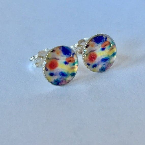 Colors.  Sterling Silver Photograph Earring Studs