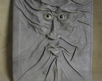 Grichels leather large padfolio - distressed grayish clay brown with green star eyes
