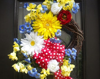Daisy Wreath, Spring Wreaths, Spring Summer Wreath, Summer Door Wreath, Summer Wreath, Floral Door Wreath