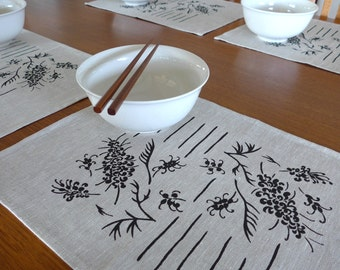Linen Placemats Screen Printed Linen Place Mats Hand Printed Linen Table Mats Black&Natural Grevillea Print (set of 4)