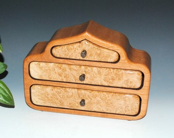 Maple Burl on Cherry Handmade Three Drawer Wood Jewelry Box - The Pagoda Box- USA Made by BurlWoodBox- Small Wood Jewelry Box, Burl Wood Box