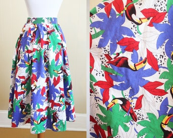 Colorful Skirt Vintage Tropical Circle 80s Full Toucan Parrot XS Small