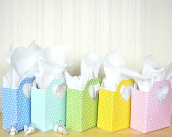 Polka Dot Heart Handled Gift Bag - Choose from a rainbow of colors